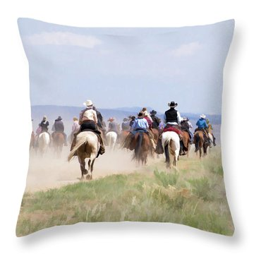 Cowboys And Cowgirls Riding Horses At The Sombrero Horse Drive Throw Pillow