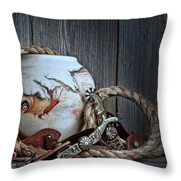 Cowboys And Indians Throw Pillow by Tom Mc Nemar