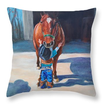 Throw Pillow featuring the painting Cowboy's First Love by Karen Kennedy Chatham
