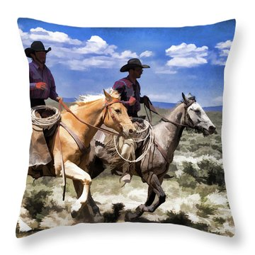 Cowboys On Horseback Riding The Range Throw Pillow