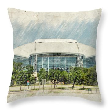 Cowboys Stadium Throw Pillow by Ricky Barnard