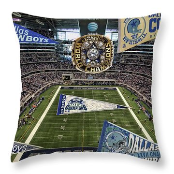 Cowboys Super Bowls Throw Pillow