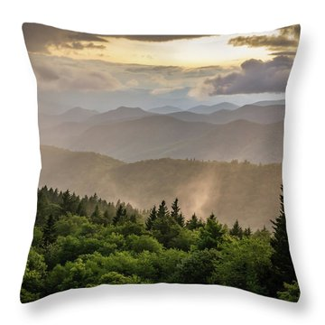 Cowee Mountains Sunset 2 Throw Pillow
