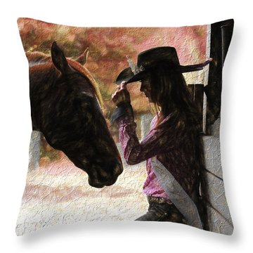 Cowgirl And Her Horse Throw Pillow