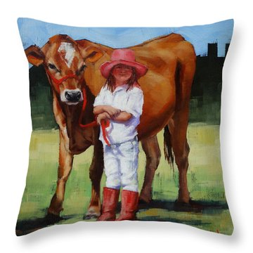 Throw Pillow featuring the painting Cowgirl Besties by Margaret Stockdale