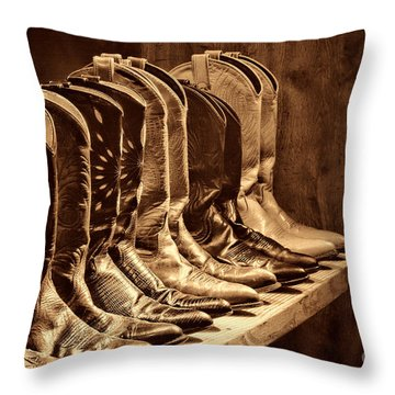 Cowgirl Boots Collection Throw Pillow by American West Legend By Olivier Le Queinec