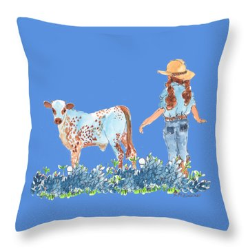 Cowgirl Calf In The Bluebonnets Pe005 Throw Pillow