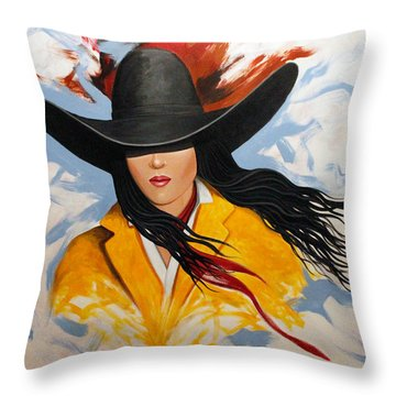Cowgirl Colors #3 Throw Pillow by Lance Headlee