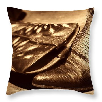 Cowgirl Gator Boots Throw Pillow by American West Legend By Olivier Le Queinec