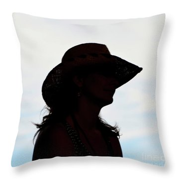 Cowgirl In The Sky Throw Pillow