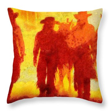 Cowpeople Throw Pillow
