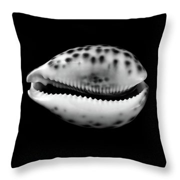 Cowry  Shell In Black And White Throw Pillow by Jim Hughes
