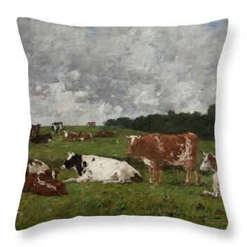 Cows At The Pasture Throw Pillow