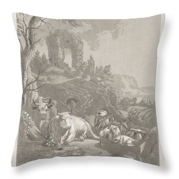 Cows, Goats And Sheep In A Mountainous Landscape With Ruin, Diederik Jan Singendonck, After Christia Throw Pillow