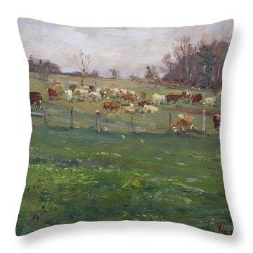 Cows In A Farm, Georgetown  Throw Pillow