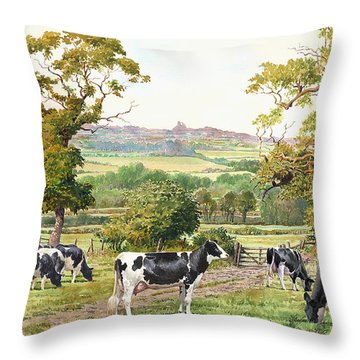 Cows In Castle Meadows Throw Pillow