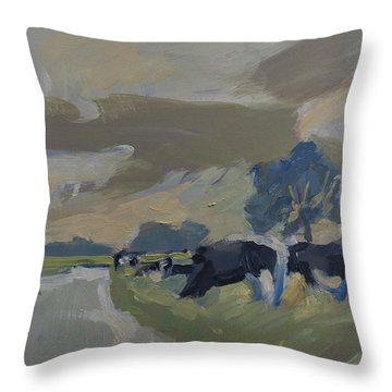 Cows In The Polder Throw Pillow