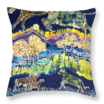 Cows Jumping Over The Moon Throw Pillow