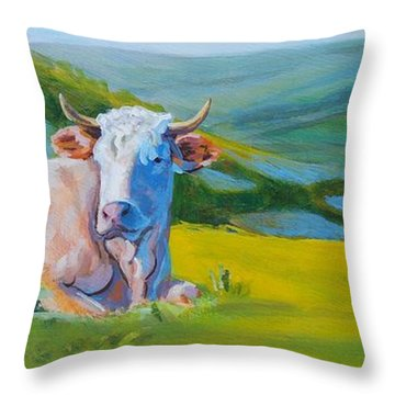 Cows Lying Down In Devon Hills Throw Pillow