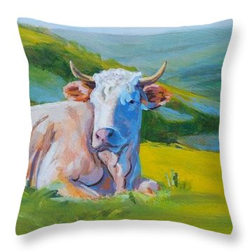 Cows Lying Down In Devon Hills Throw Pillow