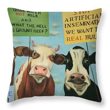 Throw Pillow featuring the painting Cows On Strike by Leah Saulnier The Painting Maniac