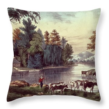 Cows On The Shore Of A Lake Throw Pillow by Currier and Ives