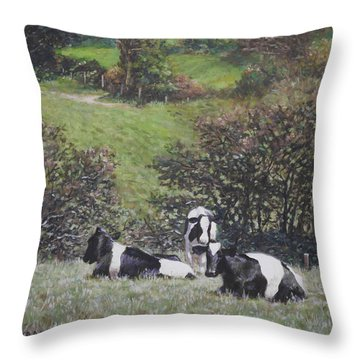 Throw Pillow featuring the painting Cows Sitting By Hill Relaxing by Martin Davey