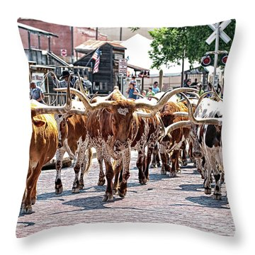 Cowtown Stockyards Throw Pillow