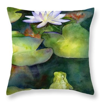 Coy Koi Throw Pillow by Amy Kirkpatrick