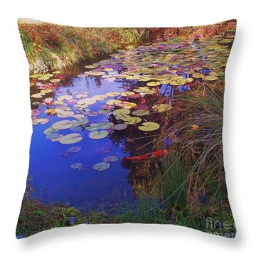 Throw Pillow featuring the photograph Coy Koi by Suzanne McKay