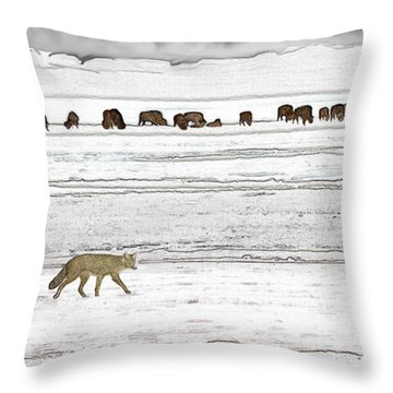 Coyote And Bison Throw Pillow