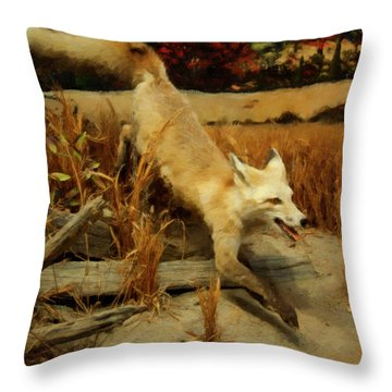 Throw Pillow featuring the digital art Coyote  by Chris Flees