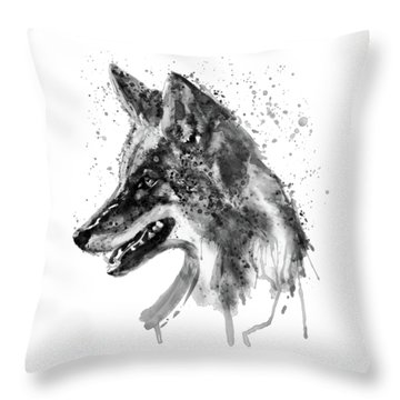 Throw Pillow featuring the mixed media Coyote Head Black And White by Marian Voicu