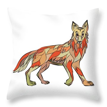 Coyote Side Isolated Drawing Throw Pillow by Aloysius Patrimonio