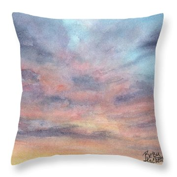 Throw Pillow featuring the painting Coyote Sunset by Betsy Hackett