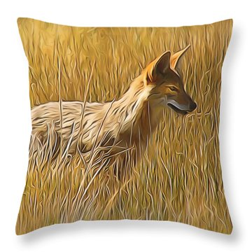 Coyote Sunshine Throw Pillow