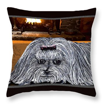 Throw Pillow featuring the drawing Cozy Maltese by Michelle Audas