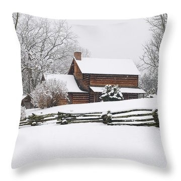 Cozy Snow Cabin Throw Pillow by J K York