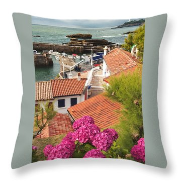 cozy tourist town on the Bay of Biscay Throw Pillow