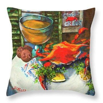 Crab And Crackers Throw Pillow by Dianne Parks