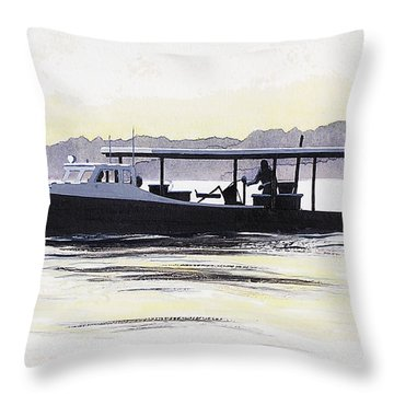 Crab Boat Slick Calm Day Chesapeake Bay Maryland Throw Pillow