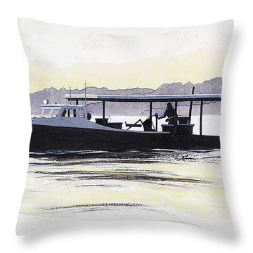 Crab Boat Slick Calm Day Chesapeake Bay Maryland Throw Pillow