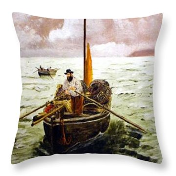 Throw Pillow featuring the painting Crab Fisherman by Richard Le Page