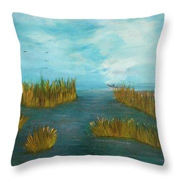 Crab Lady Landing In Big Lake Throw Pillow