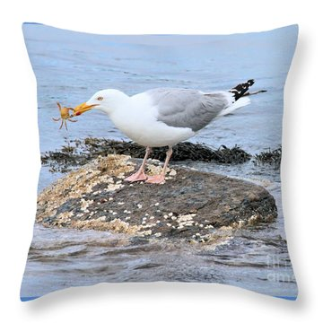 Crab Legs Throw Pillow by Debbie Stahre