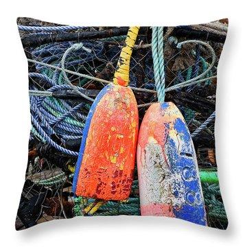 Crab Pots And Buoys Throw Pillow
