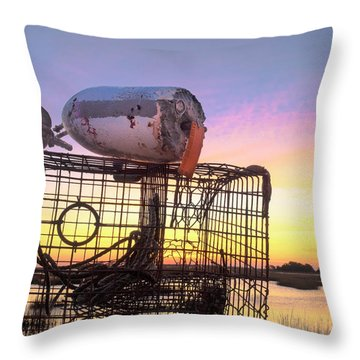 Throw Pillow featuring the photograph Crab Trapped - Sunrise Sunset Photo Art by Jo Ann Tomaselli