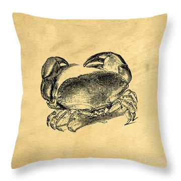 Throw Pillow featuring the drawing Crab Vintage by Edward Fielding
