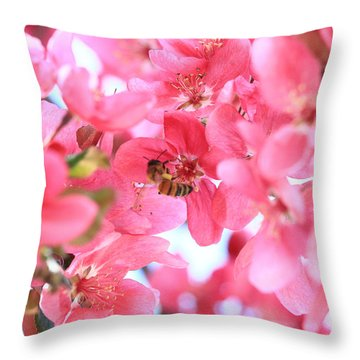 Crabapple Bees 2 Throw Pillow