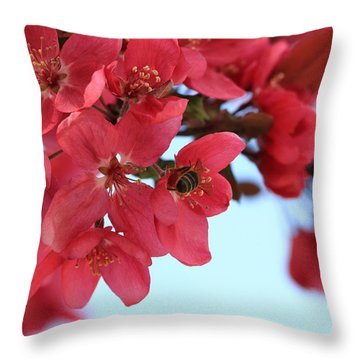 Crabapple Bees Throw Pillow